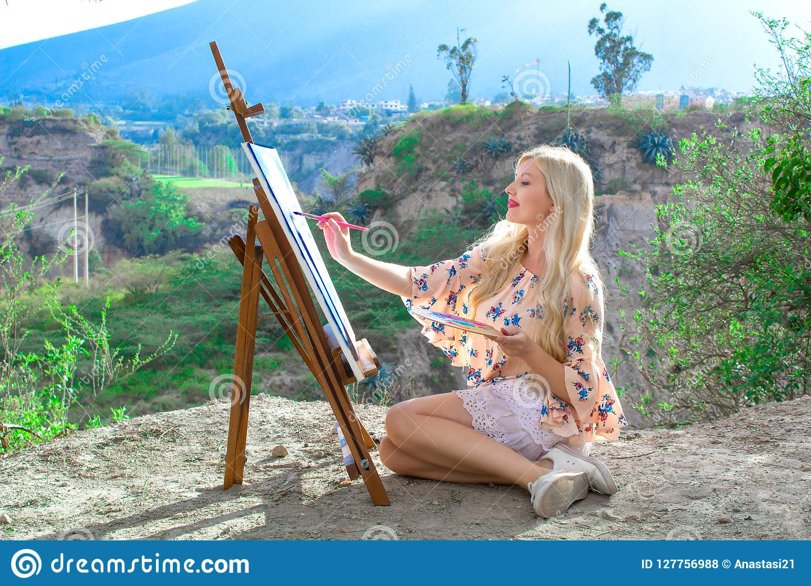 Beautiful Young Woman Artist Paints A Landscape In Nature