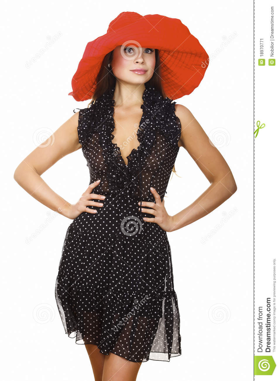 Beautiful Young Woman In Black Dress And Red Hat Stock Image ...