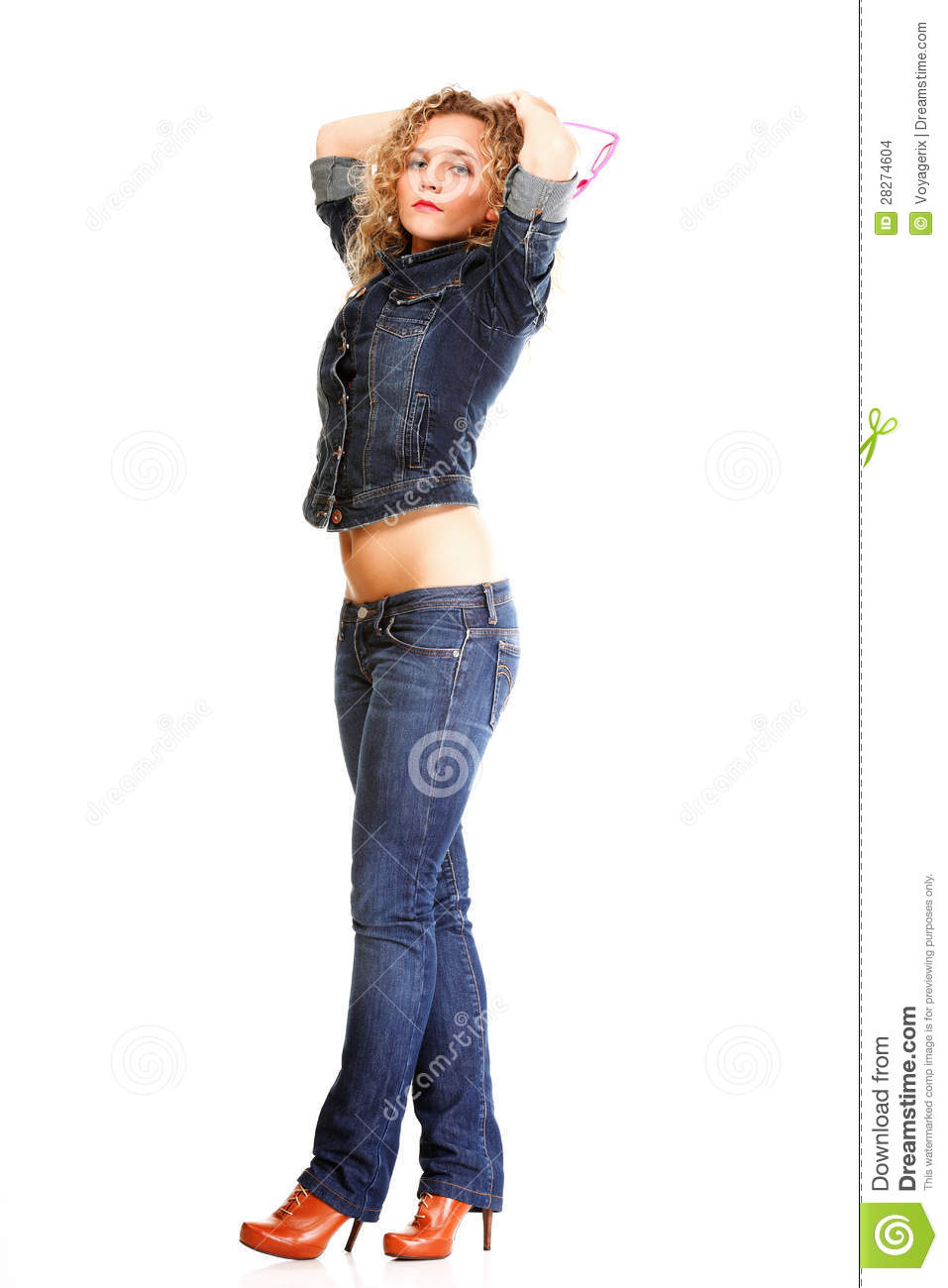 Full Body Shot Of Happy Beautiful Woman Smiling While