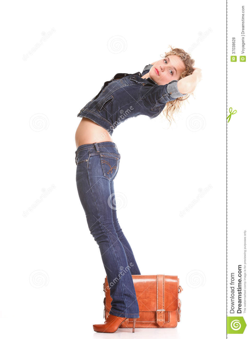Young Woman Blonde Standing Full Body In Jeans Royalty