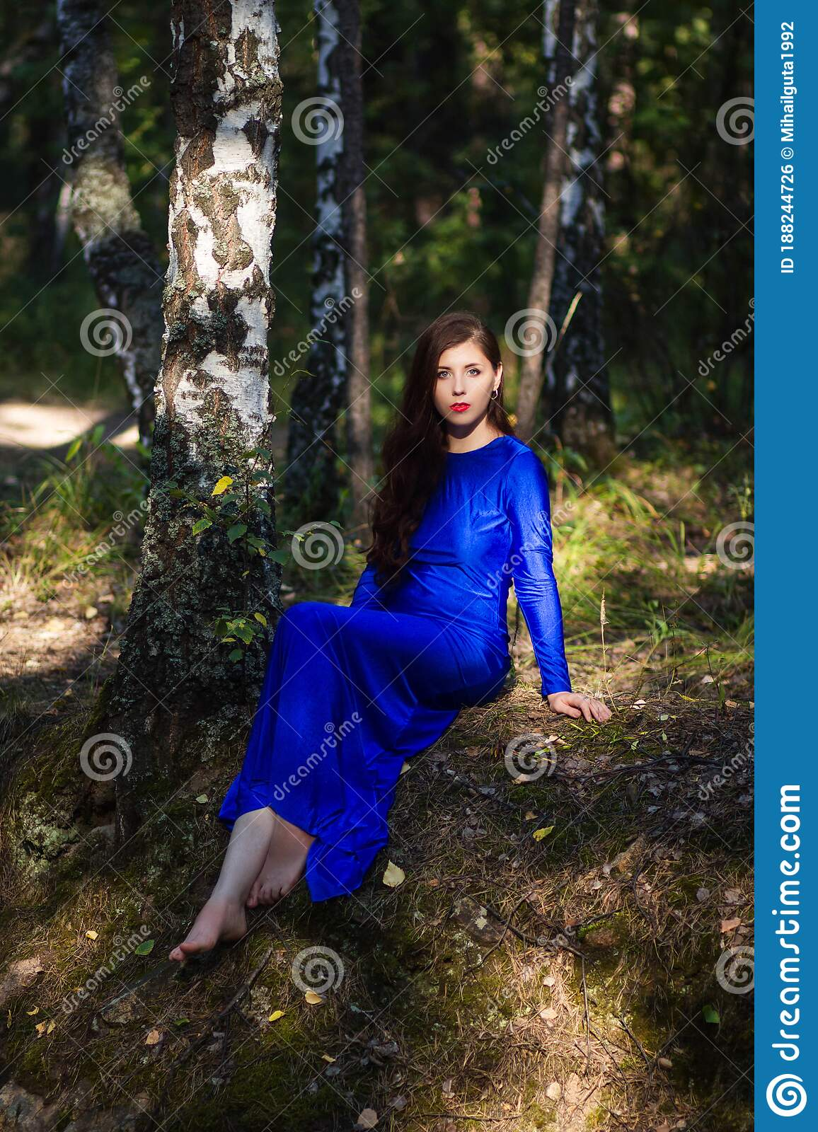 https://thumbs.dreamstime.com/z/beautiful-young-woman-blue-dress-sitting-near-tree-over-cliff-against-forest-background-beautiful-young-woman-188244726.jpg