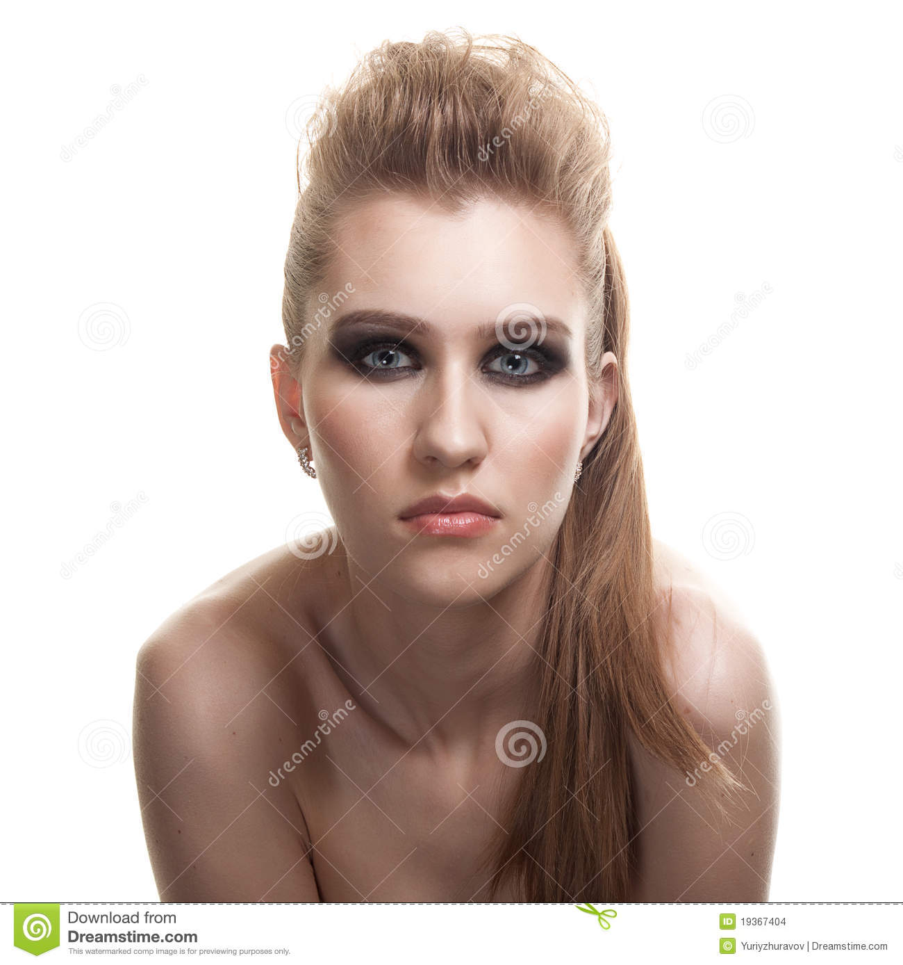 Young Happy Beautiful Woman With Bright Makeup With
