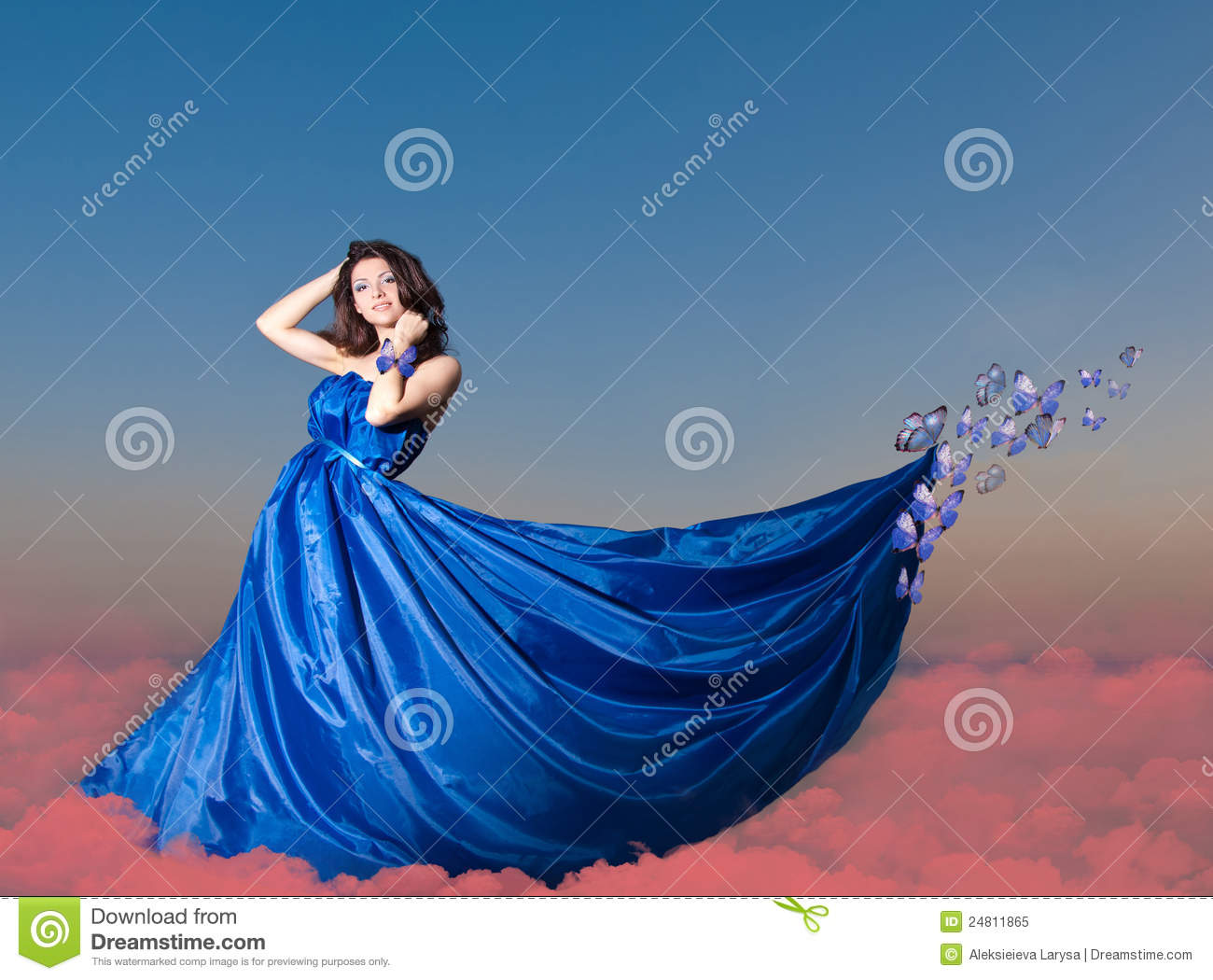 Beautiful young woman with butterfly