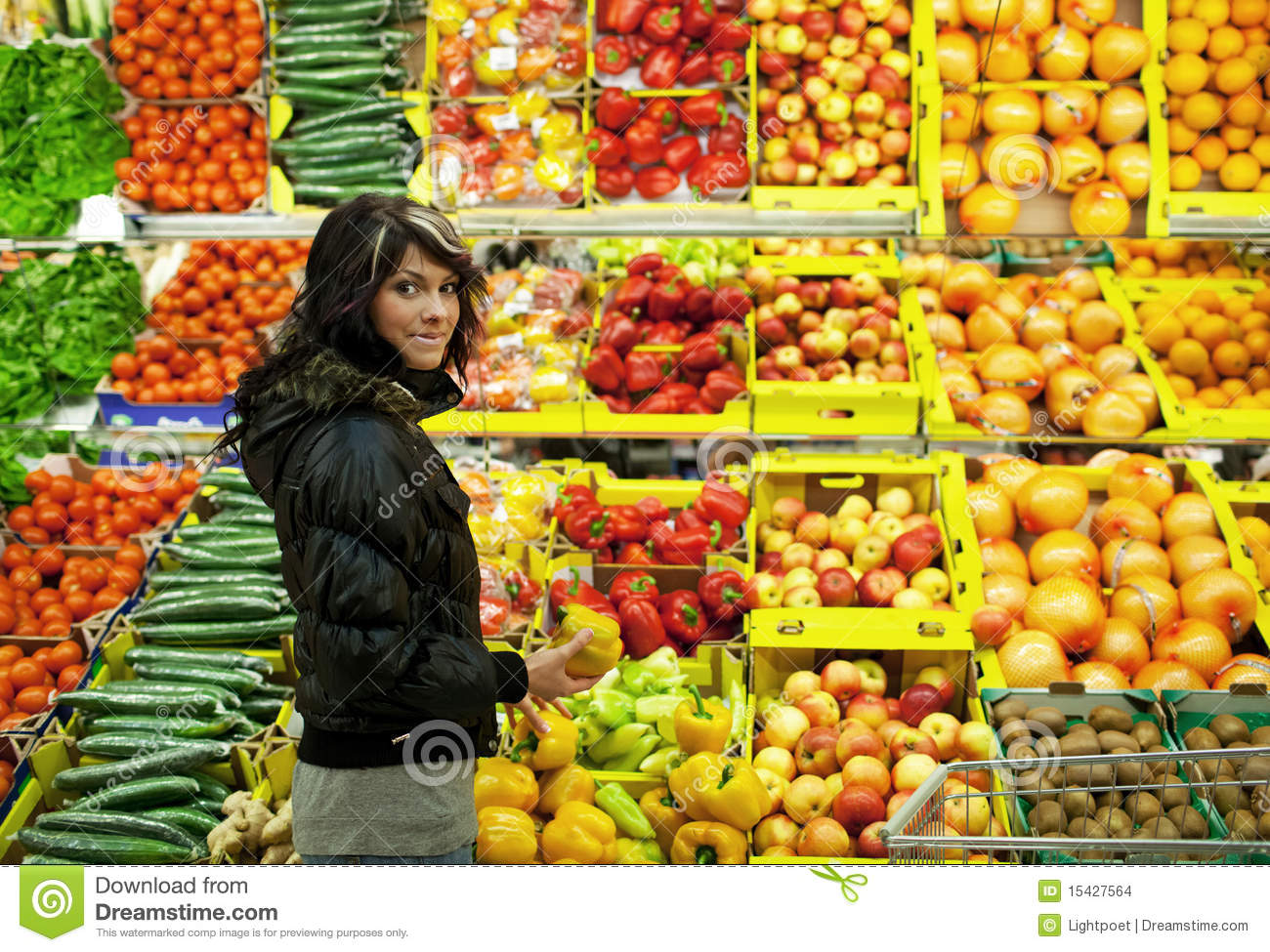 Beautiful young woman buying fruits and vegetables stock for Beautiful vegetables