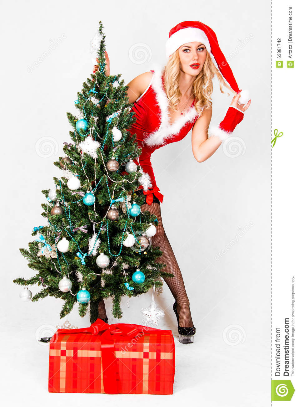 a4817d4e1a2a Beautiful Young Woman In A Christmas Clothes Stock Photo - Image of ...