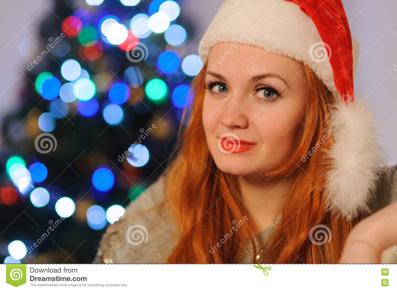 Beautiful young woman during christmas holidays