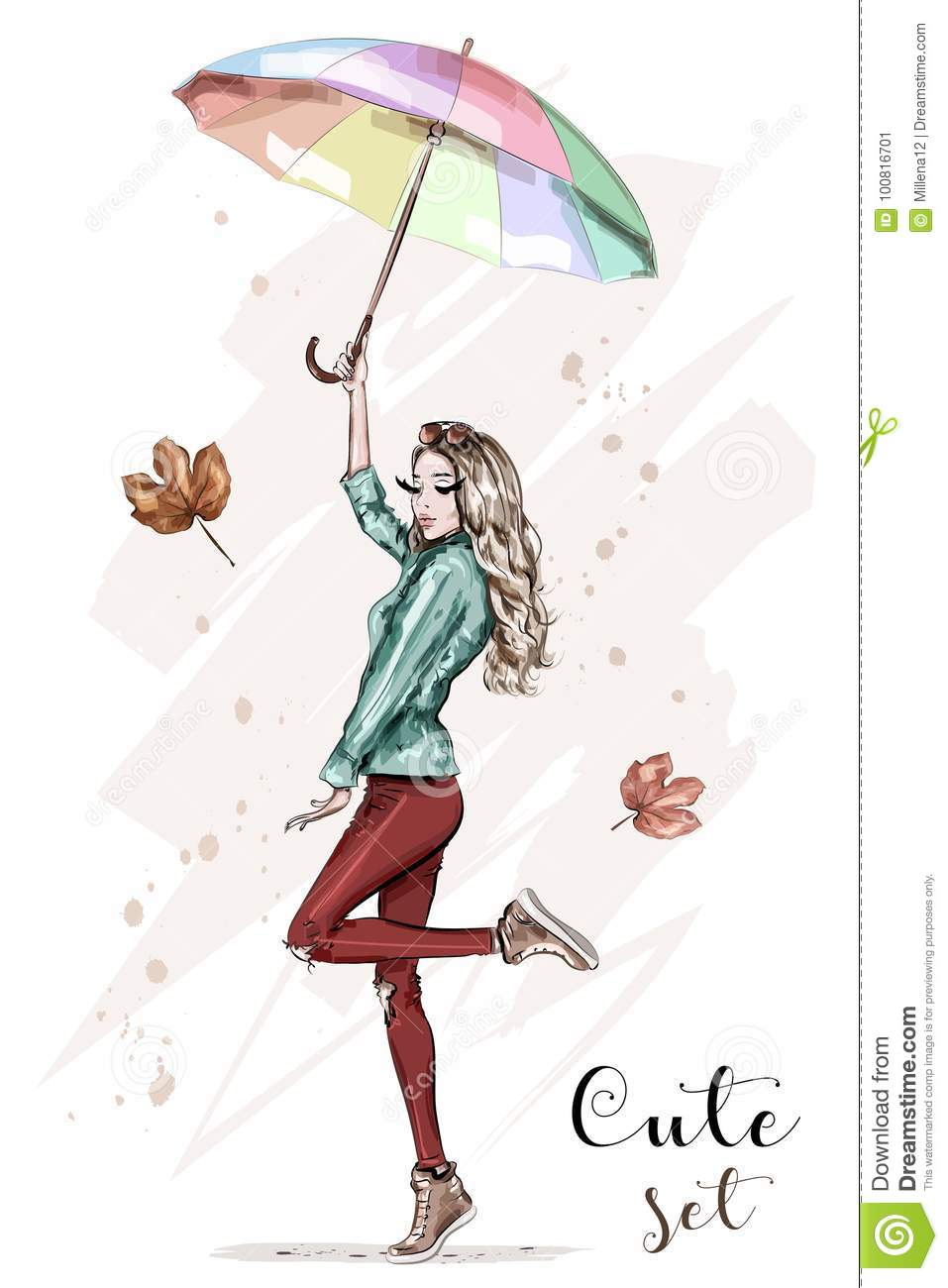 Beautiful young woman with colorful umbrella. Stylish hand drawn girl in fashion clothes. Fashion woman. Sketch.