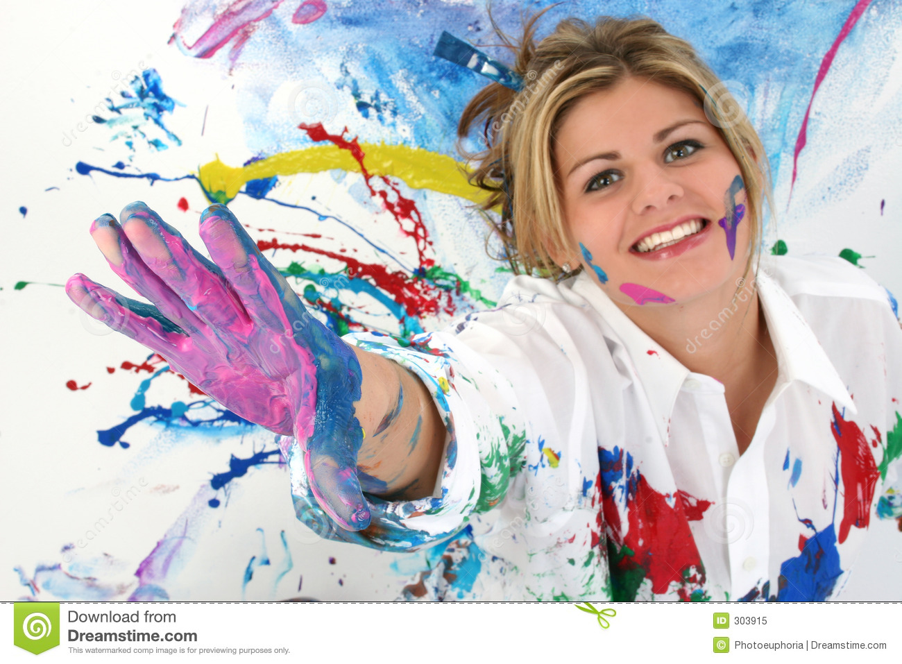 Beautiful young woman covered in paint royalty free stock photo image 303915 - Resource com verven ...