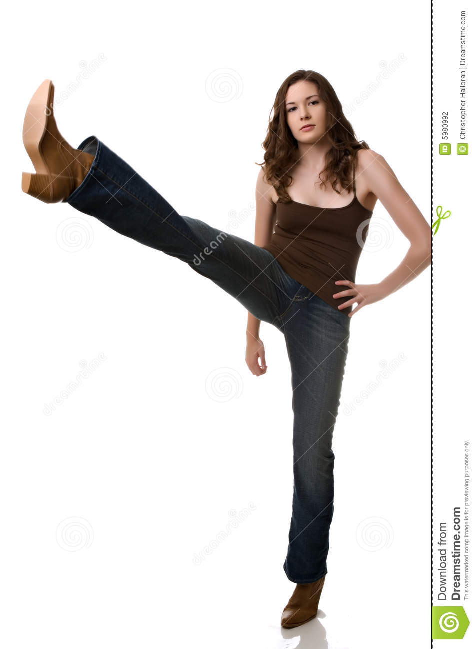 Beautiful Young Woman In Cowboy Boots Stock Photography - Image ...