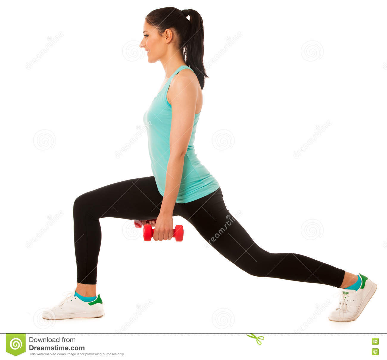 Beautiful young woman doing lunge exercise with red dumbbells in
