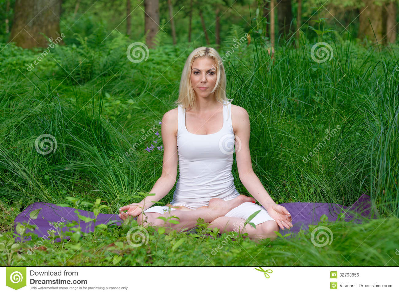 Girl/young Woman Doing A Yoga Pose Outdoors In A Natural ...