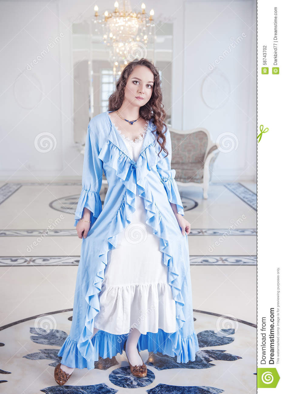 Beautiful Young Woman In Dressing Gown With Frill Stock Photo ...