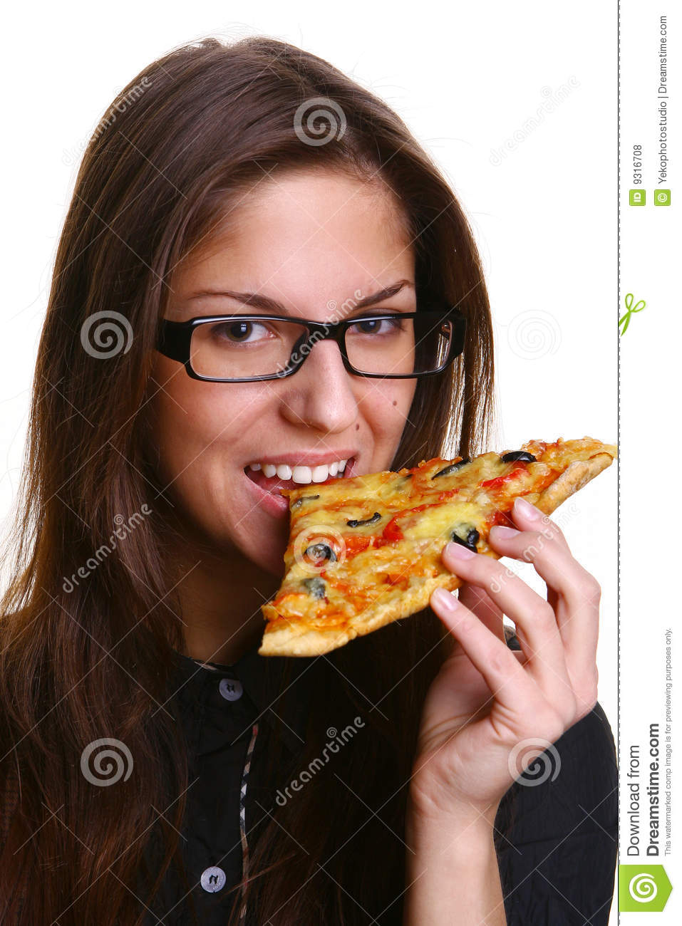 Beautiful Young Woman Eating Pizza Stock Photo - Image of ...