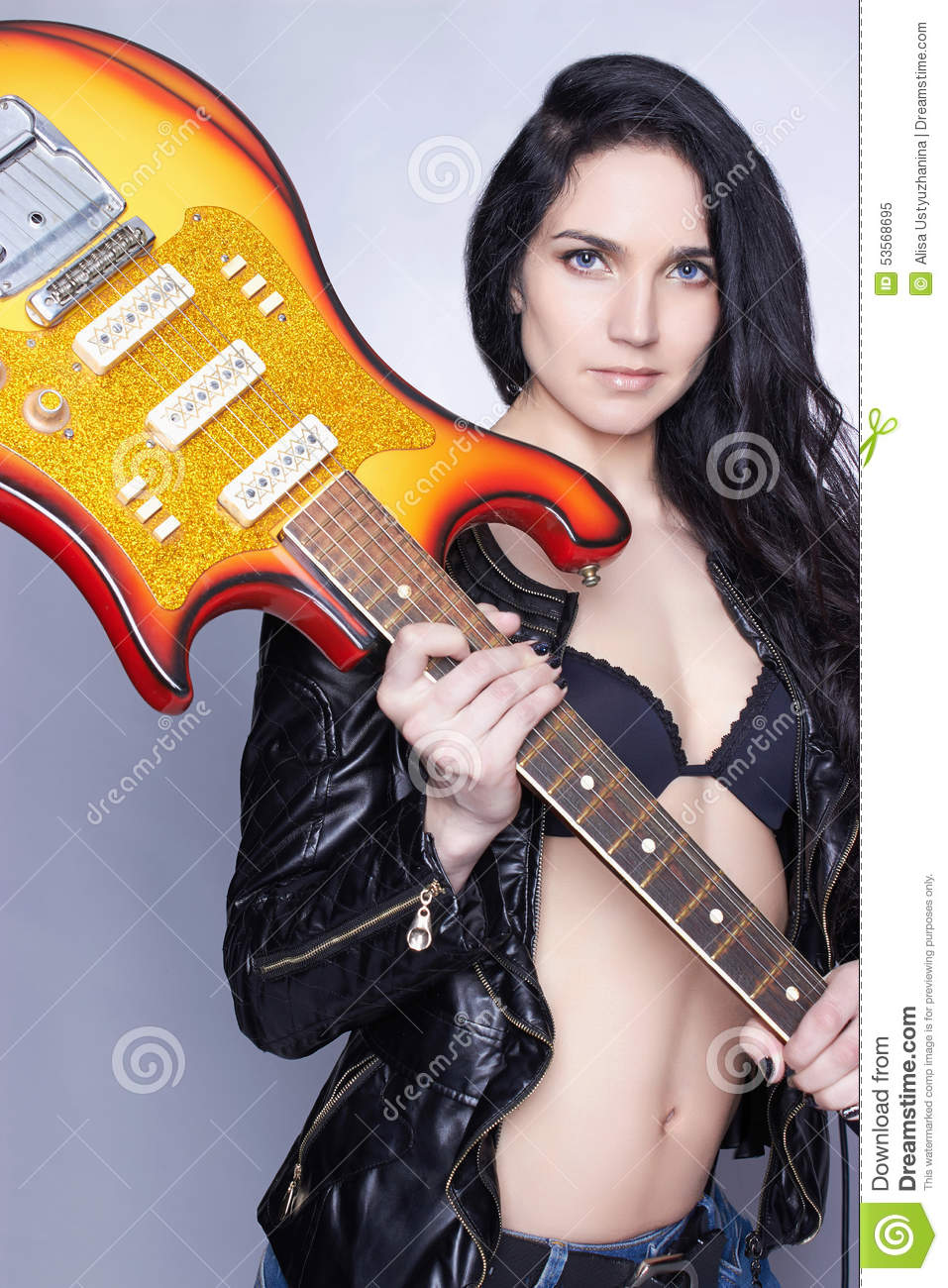 Beautiful Young Woman With Electric Guitar Stock Image ...