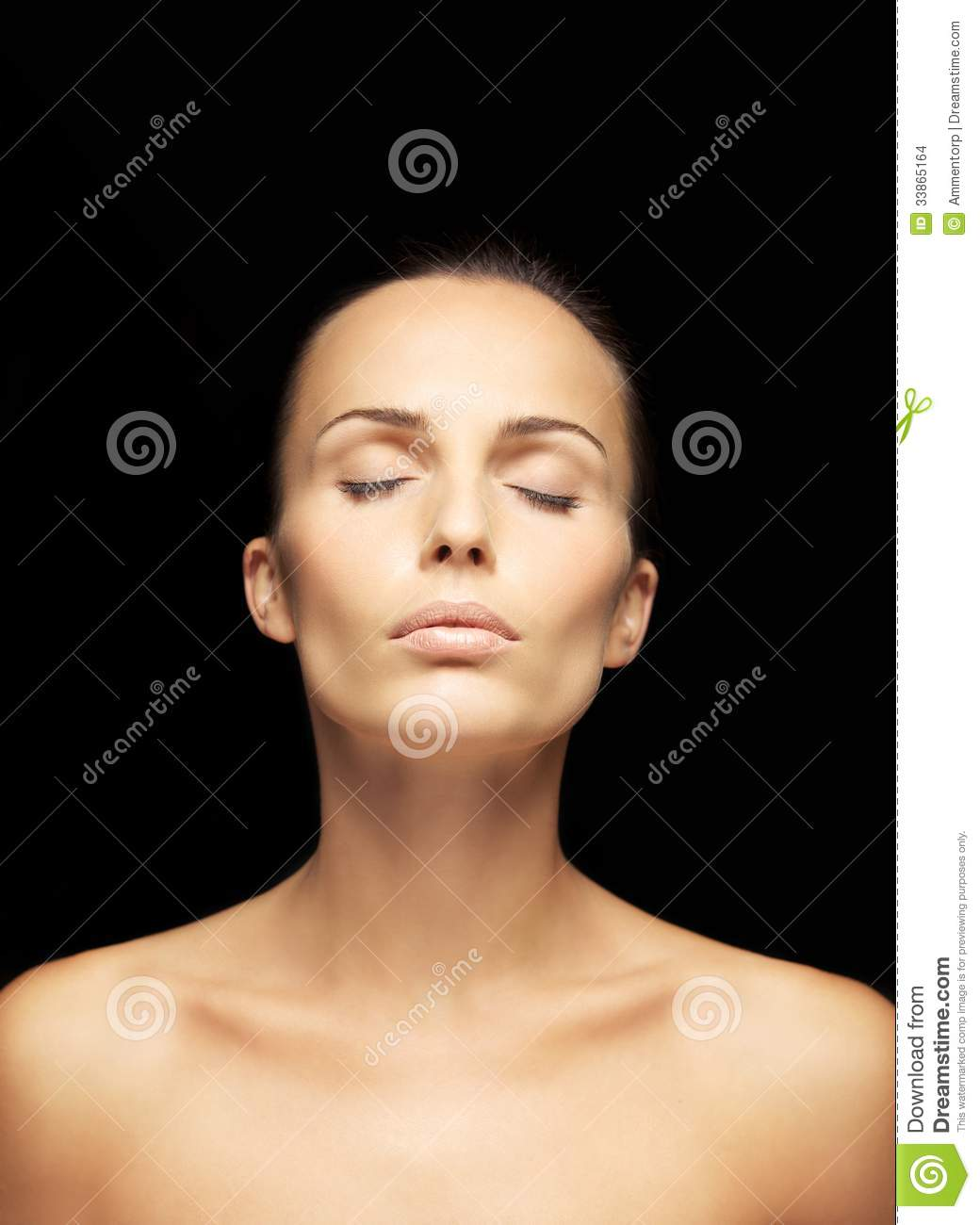Beautiful Young Woman With Eyes Closed Stock Photo