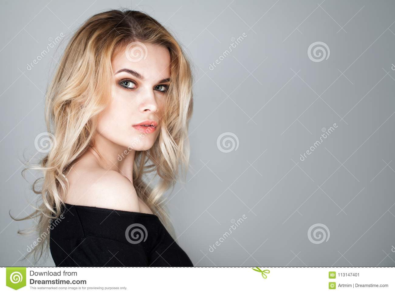 Beautiful Young Woman Face. Portrait of Cute Model