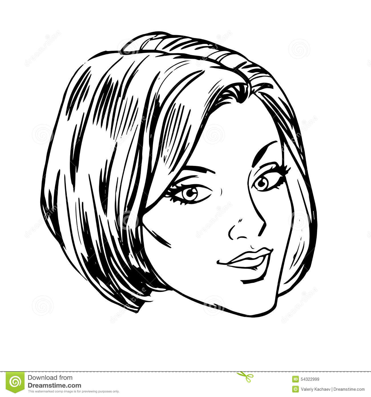 Line Drawing Face Vector : Beautiful young woman face smile retro line art stock