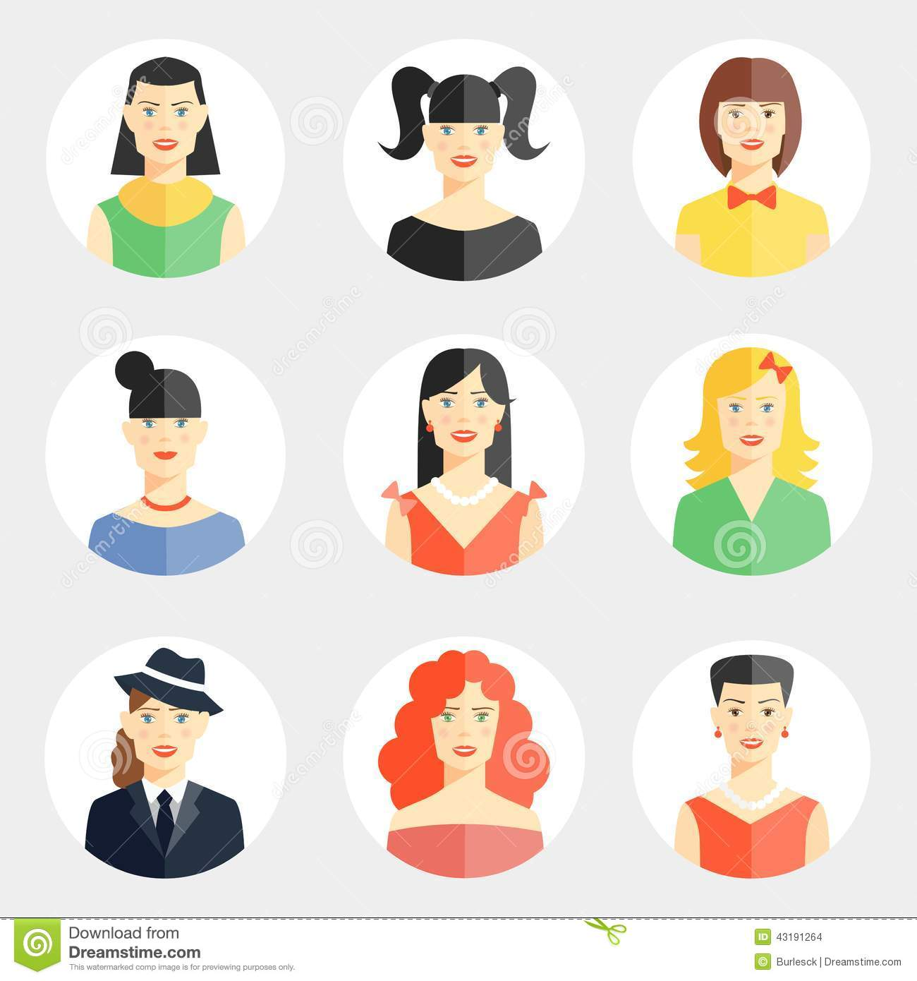 Beautiful Young Woman Faces In Flat Style Stock Vector