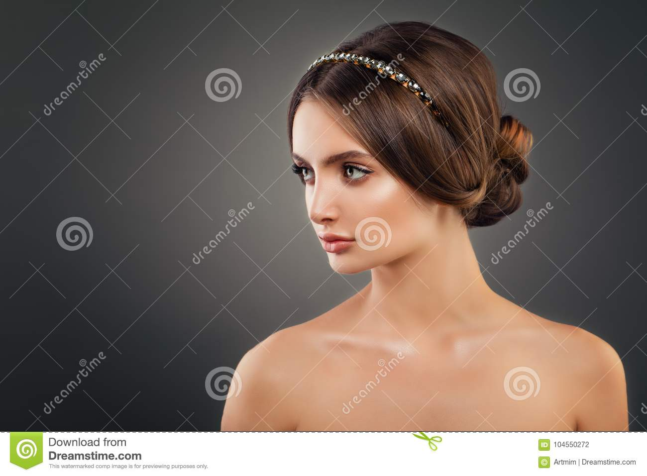 Beautiful Young Woman Fashion Model with Wedding Hairstyle