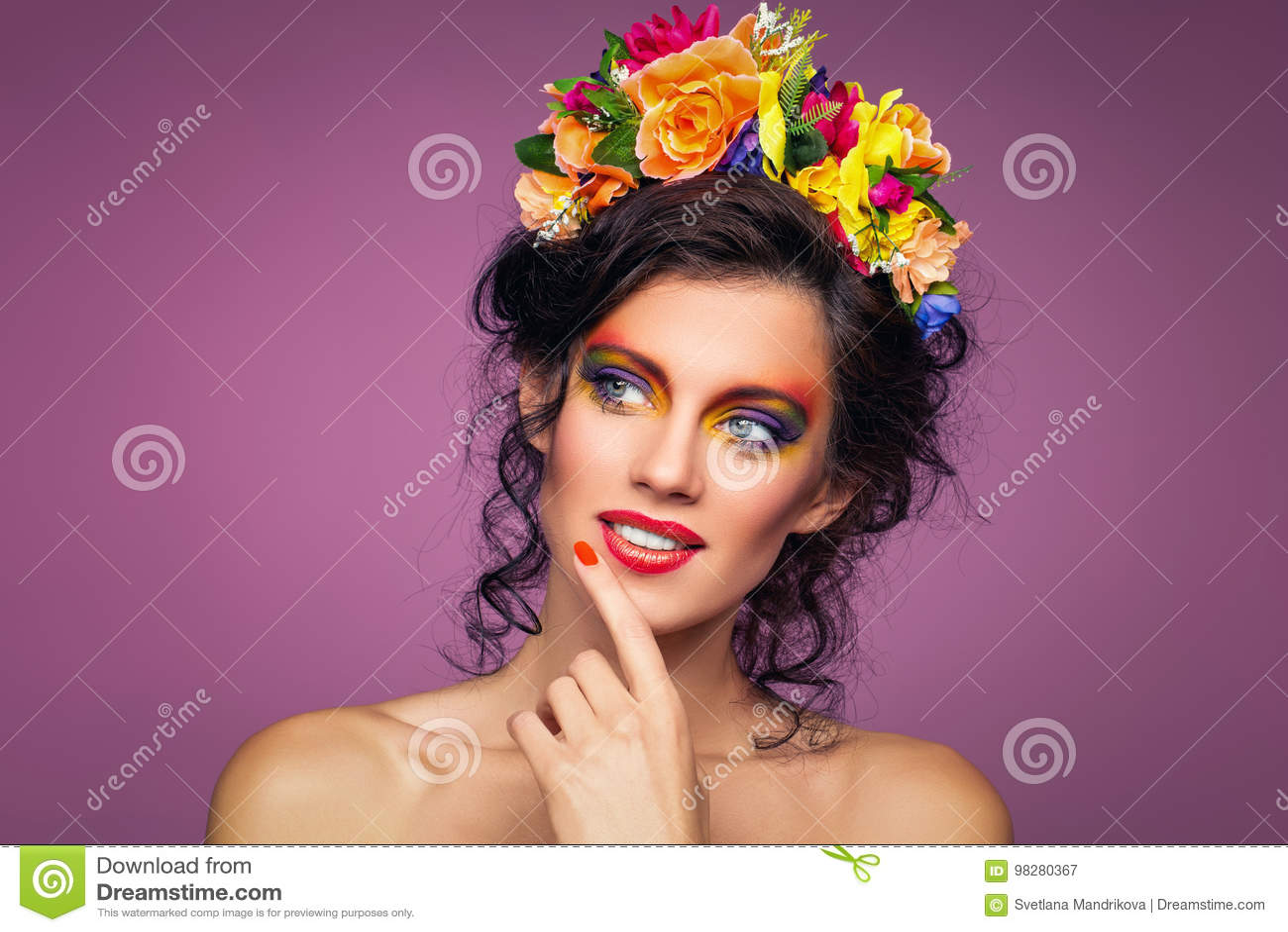 Beautiful girl with flower accessories stock image image of download beautiful girl with flower accessories stock image image of beautiful fashion 98280367 izmirmasajfo