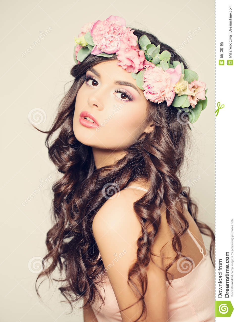 Beautiful Young Woman With Flowers Long Curly Hair Stock