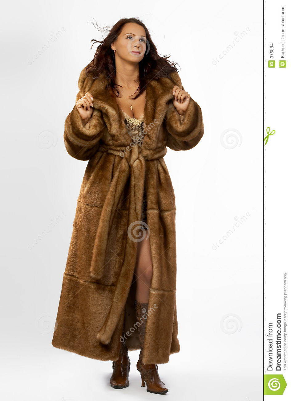 Beautiful Young Woman In A Fur Coat. Stock Images - Image: 376884