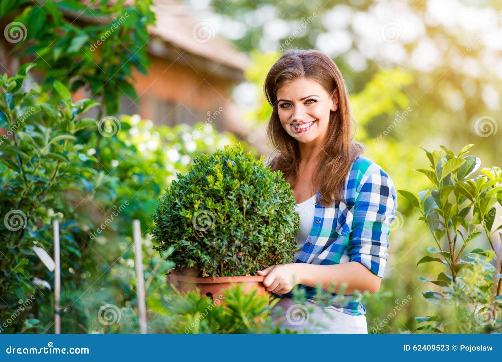 Beautiful Young Woman Gardening Stock Photo Image 62409523