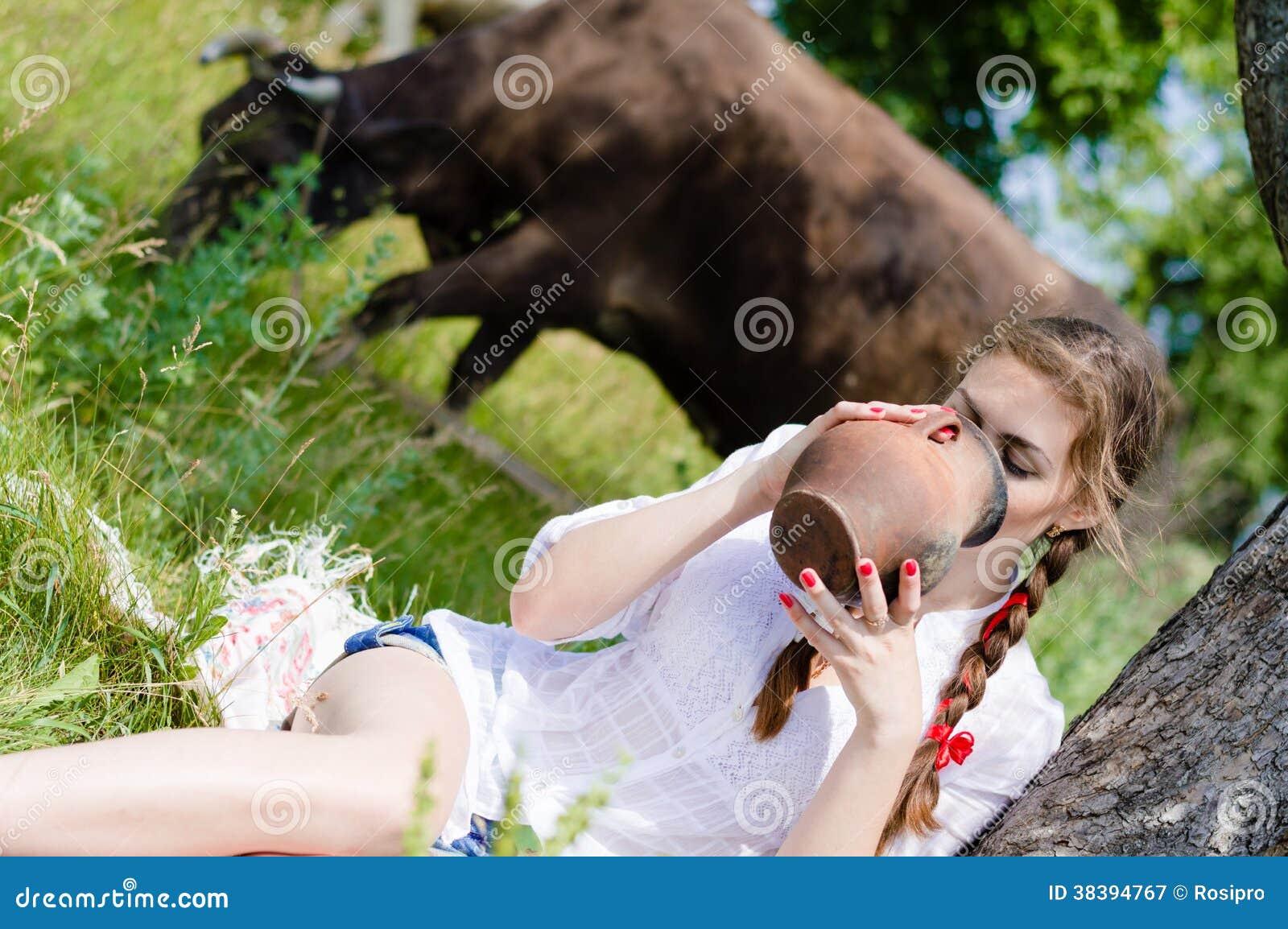 image Milk a beautiful cow