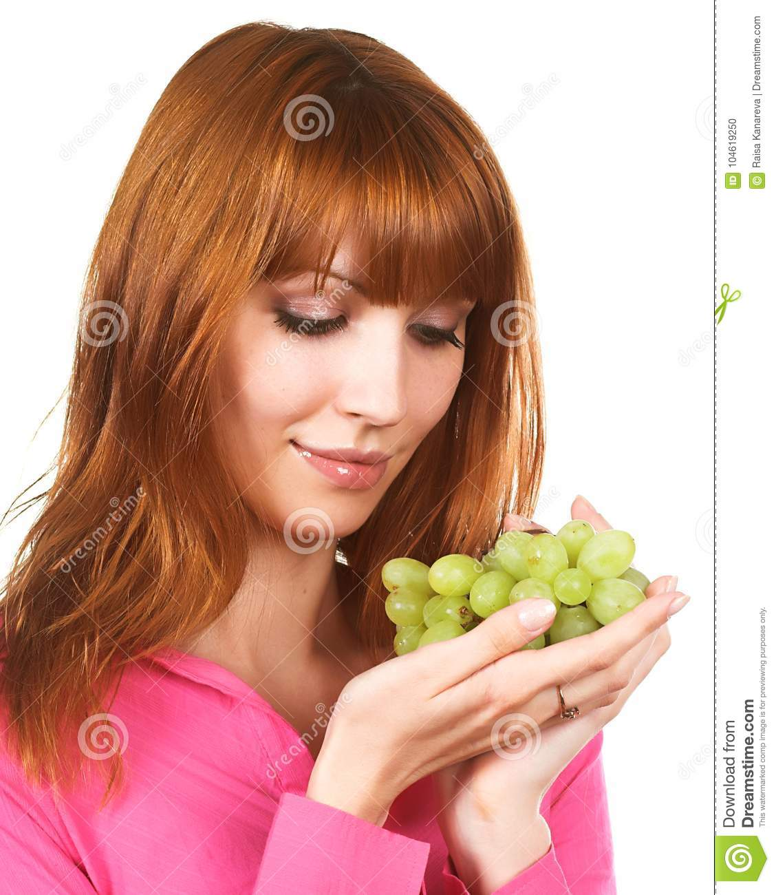 Young Woman With Green Grape Stock Photo Image Of Life