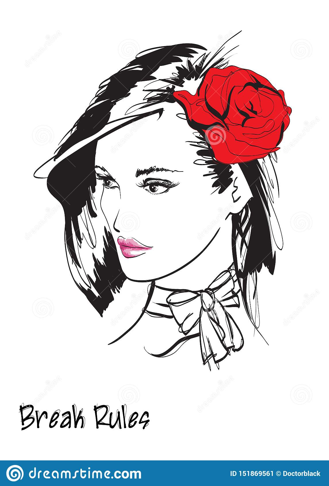 Beautiful young woman with hairstyle and expressive look. Fashion sketch. Fashion girls face. Hand-drawn fashion model. Woman face