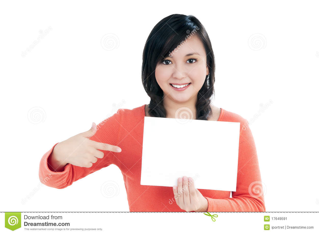 Beautiful young woman holding blank note card