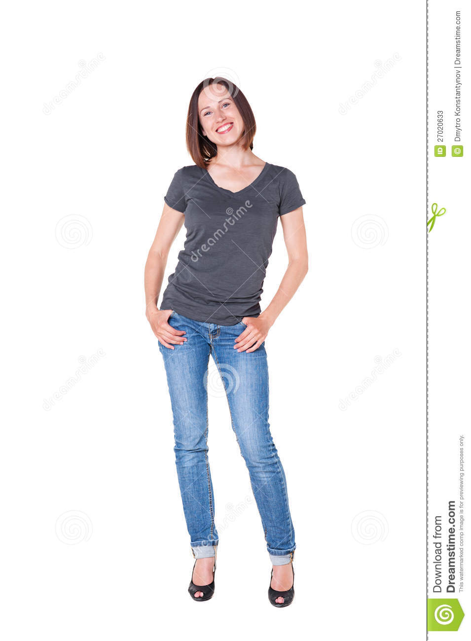 Beautiful Young Woman In Jeans And Tshirt Stock Photos - Image 27020633