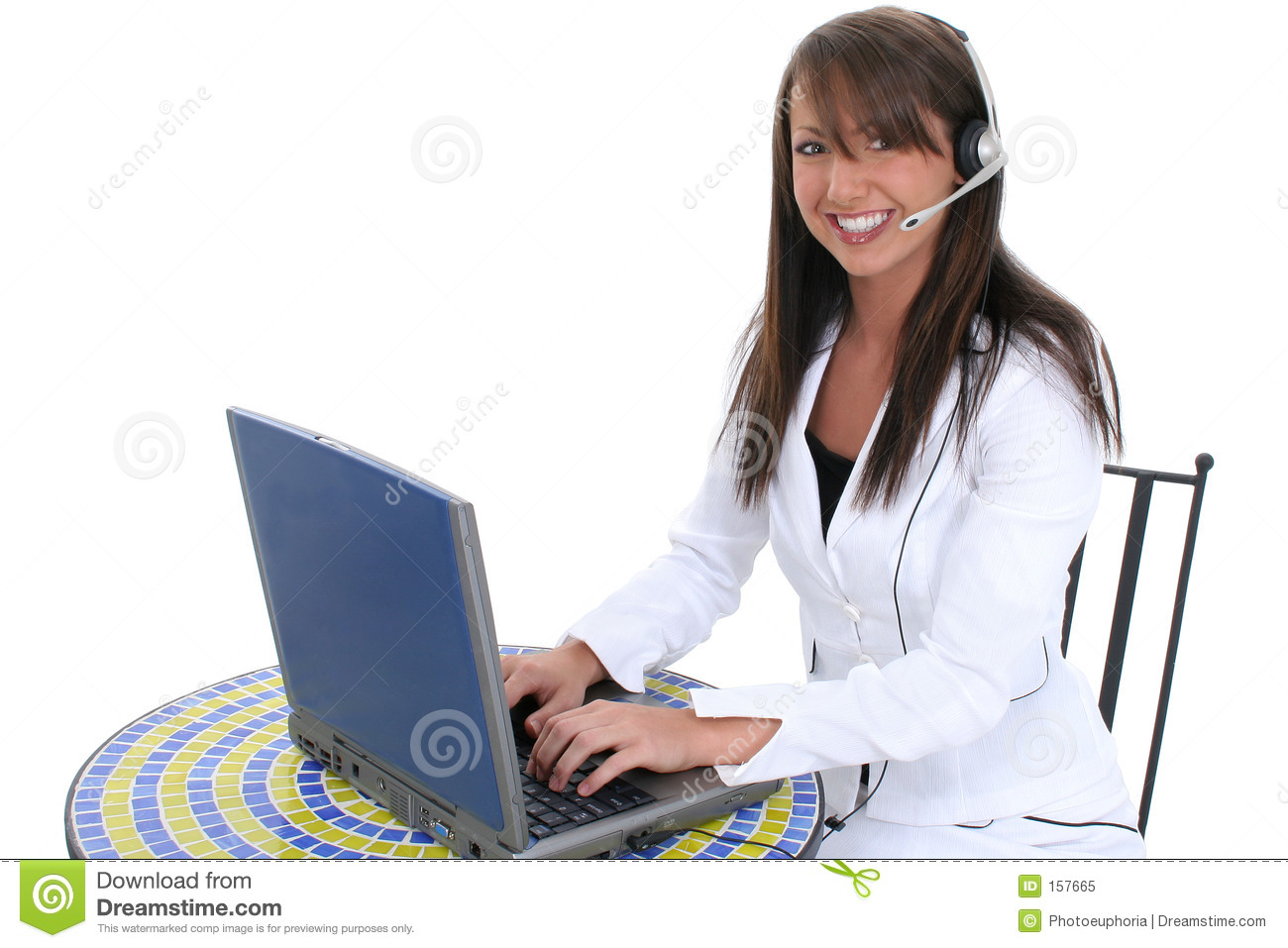 Beautiful Young Woman At Laptop Computer