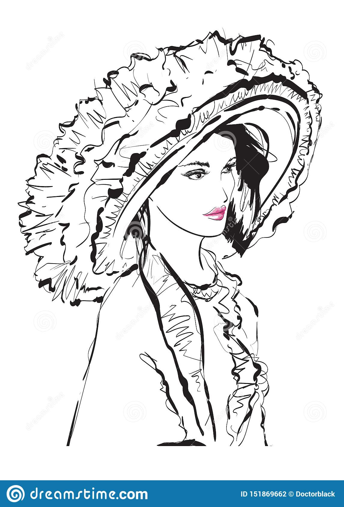 Beautiful young woman with large luxury hat. Fashion sketch. Fashion girls face. Hand-drawn fashion model. Woman face