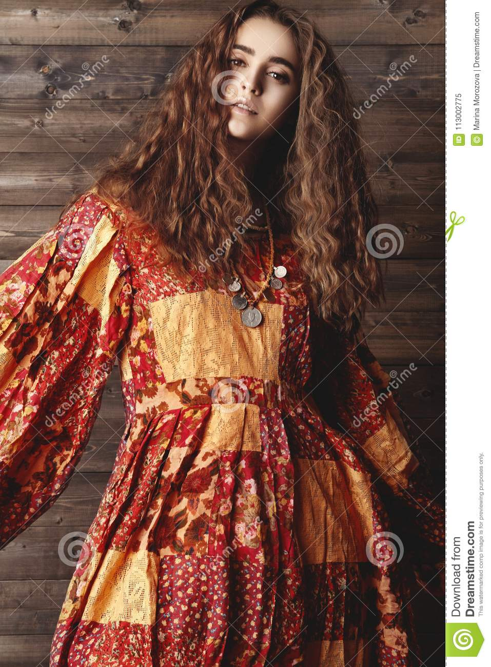 Beautiful Young Woman With Long Curly Hairstyle Fashion Jewelry