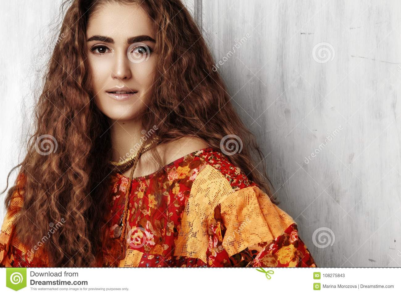 Beautiful Young Woman With Long Curly Hairstyle Fashion Jewelry With Brunette Hair Indian Style Clothes Long Dress Stock Image Image Of Hairstyle Glamorous 108275843