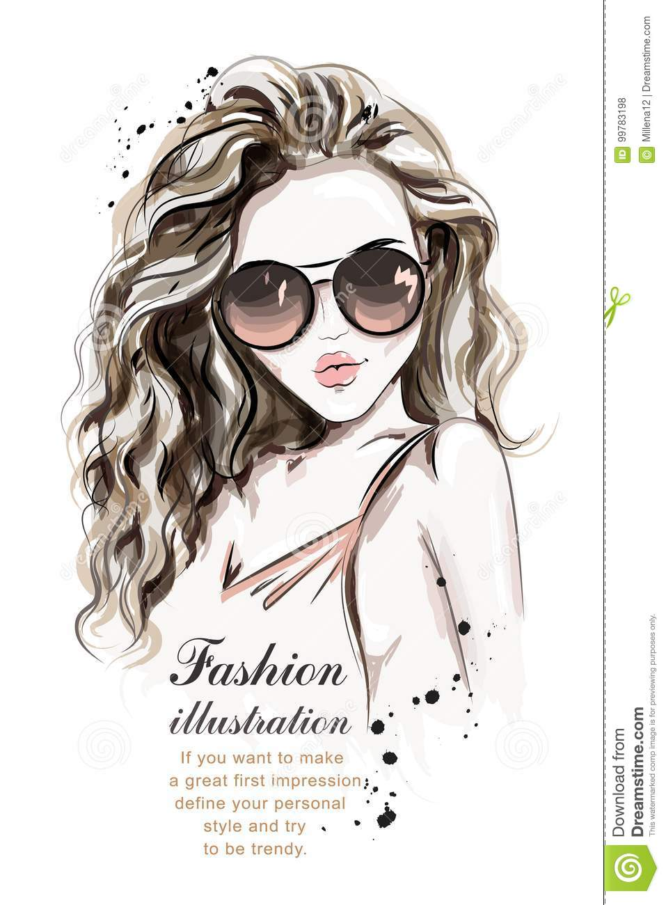 Beautiful Young Woman With Long Hair. Stylish Hand Drawn ...