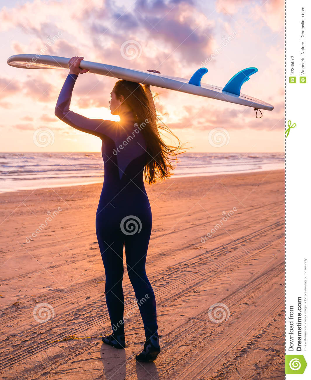 Beautiful Woman Face Over Beach Sunset Stock Image: Beautiful Young Woman With Long Hair. Surf Girl With