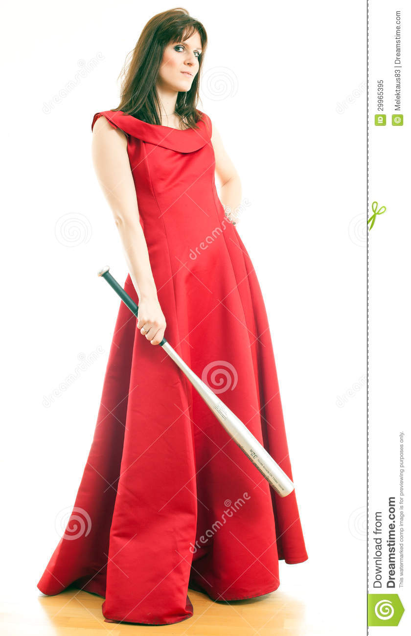A Woman With A Baseball Bat Stock Image Image 29965395