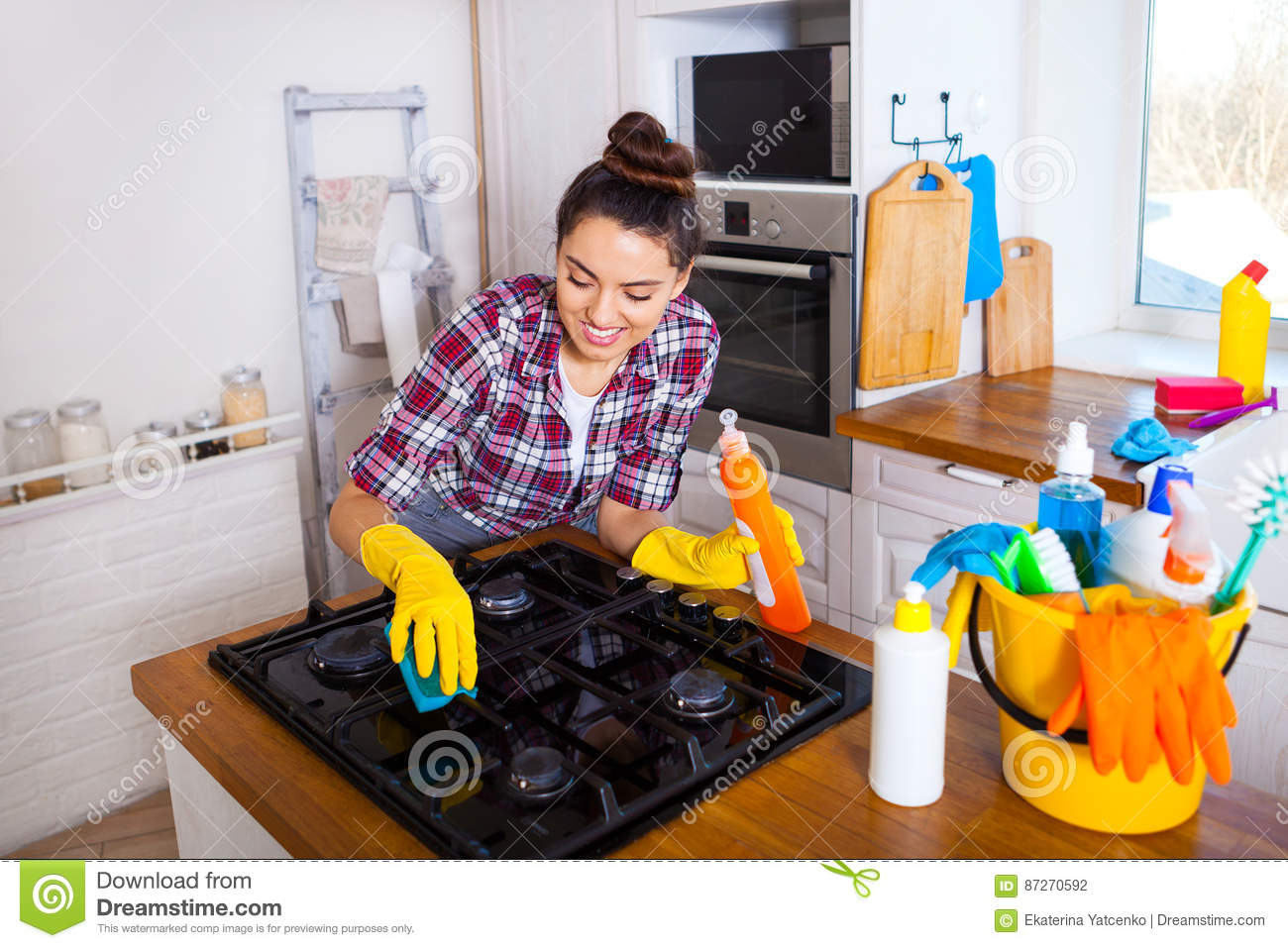 Young girl cleaning house congratulate, remarkable