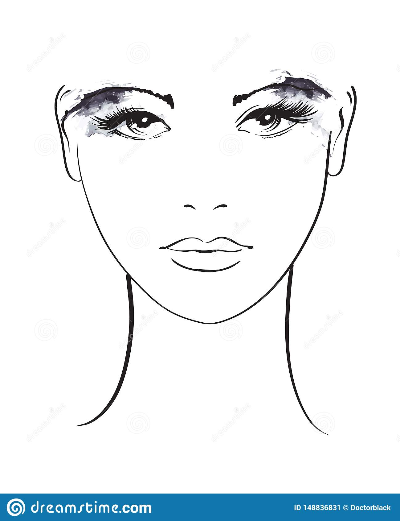 Beautiful Young Woman With Makeup On Eyes Fashion Sketch Fashion Girls Face Hand Drawn Fashion Model Woman Face Stock Vector Illustration Of Abstract Lady 148836831