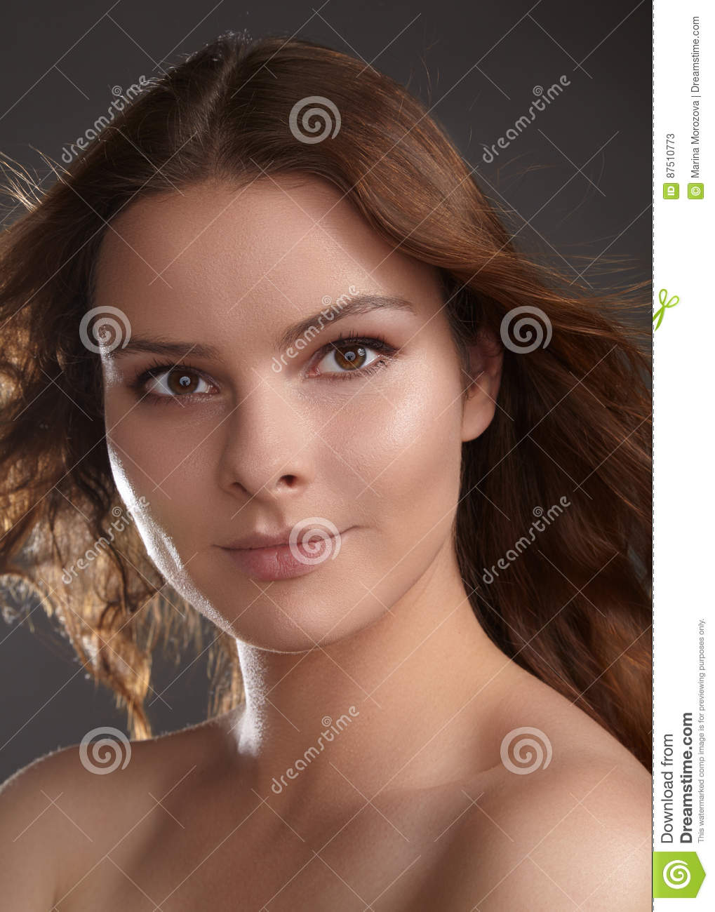 Beautiful Young Woman Model With Flying Brown Hair Beauty With