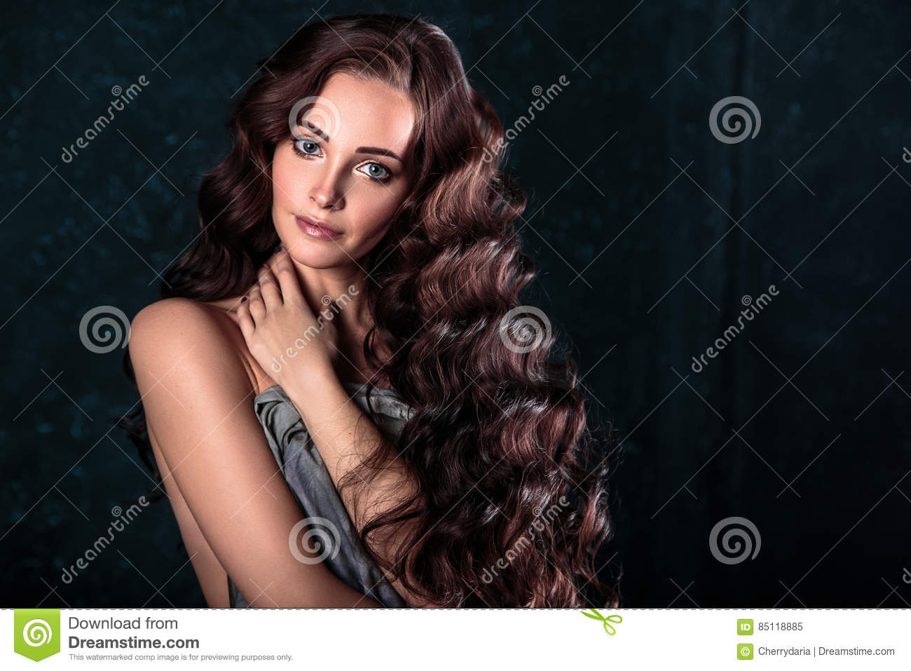 Mature Woman With Straight Grey Hair Portrait Stock Photo