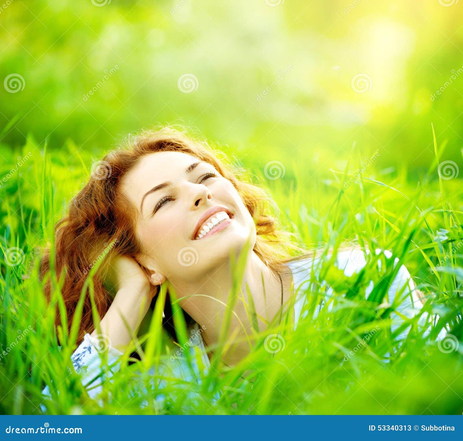 Happy Beautiful Woman Enjoying At Beach Stock Photo: Beautiful Young Woman Outdoors Stock Photo