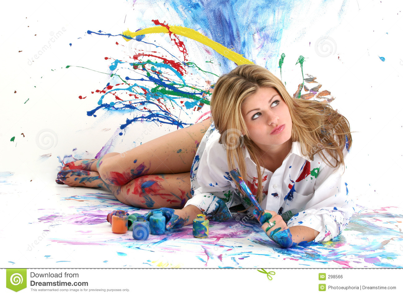 Beautiful Young Woman Painting Royalty Free Stock Image - Image: 298566
