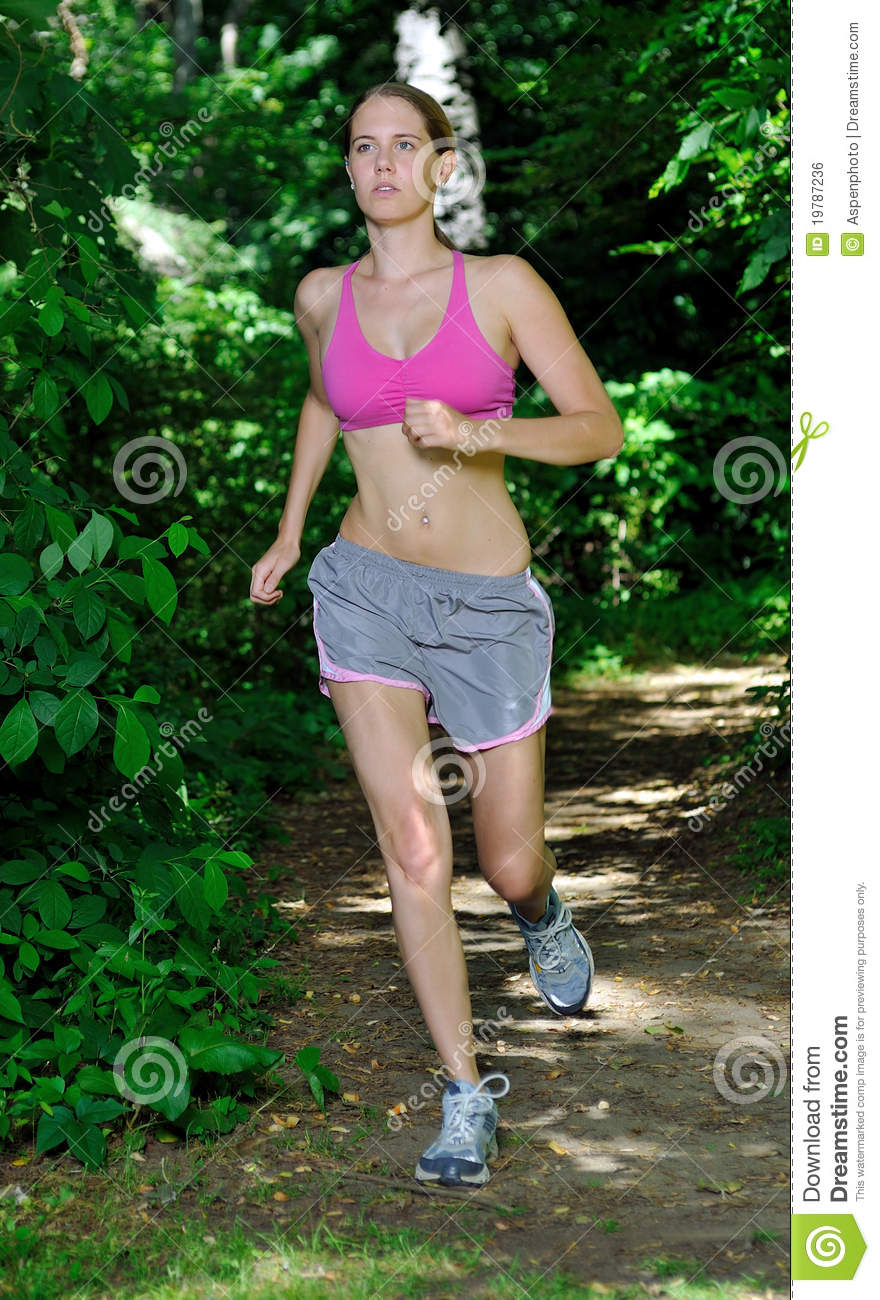 4f8d363095 Beautiful Young Woman In Pink Sports Bra Running Stock Photo - Image ...