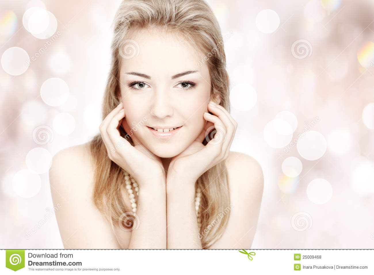 Beautiful young woman. Portrait over abstract