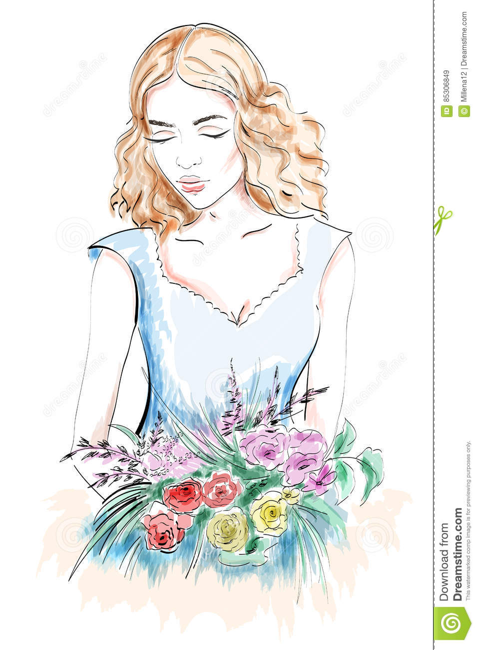 Beautiful Young Woman Portrait Woman With Flowers Sketch