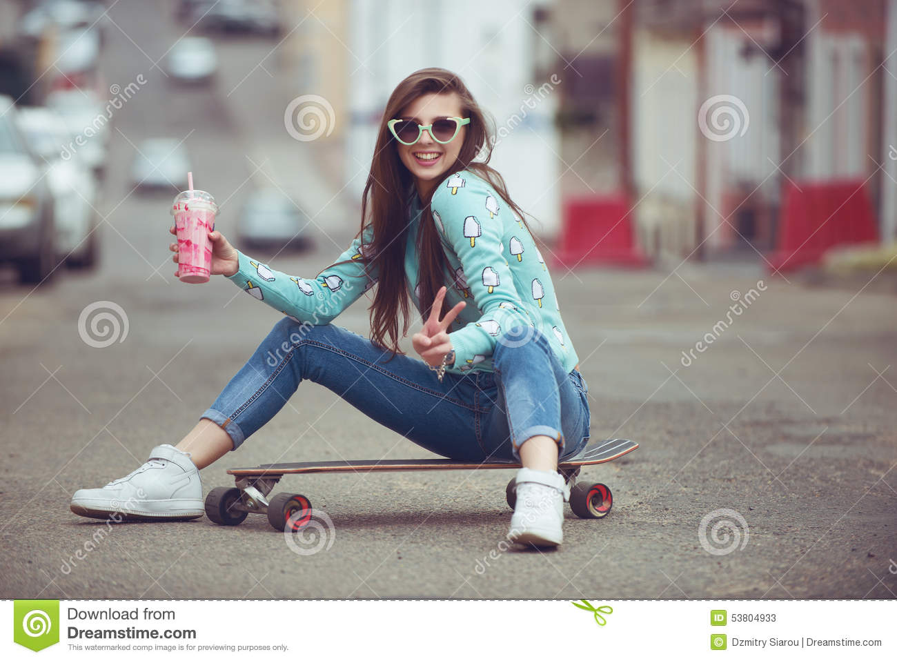 59ca633b86e Beautiful Young Woman Posing With A Skateboard Stock Image - Image ...