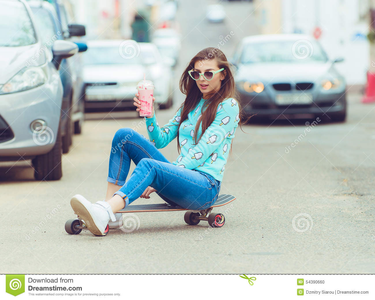ecbe021c0d2 Beautiful Young Woman Posing With A Skateboard Stock Photo - Image ...